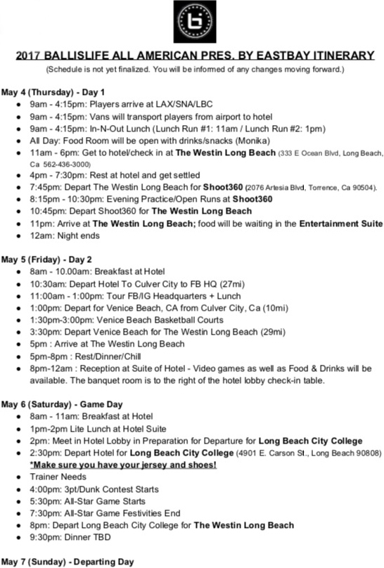 2017 Ball Is Life All-American Itinerary